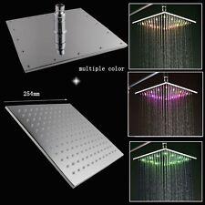 "10"" Square Temperature Sensor Changing Color LED Showerhead, Polished Chrome"