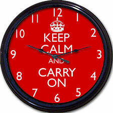 Keep Calm and Carry On Wall Clock Britain UK London England World War II Queen