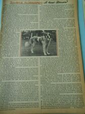 Le Saint Bernard chien dog Coupure de presse 1958