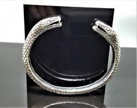 Snakes Head Bracelet STERLING SILVER 925 Double Headed Snake Talisman Amulet Goo