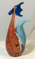 "Vintage Murano Art Glass Jeweled Colourful Rooster Cock Figurine 7"" Multi Color"