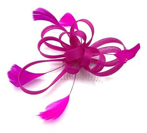 Hot Pink Feather Comb Fascinator Ladies Day Weddings Races Ascot