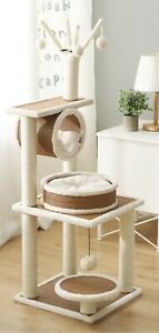Cat Tree with Natural Sisal Scratching Posts and Teasing Rope for Kitten