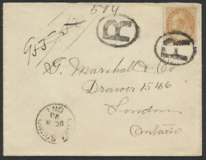 1898 Registered Cover, #82 8c Numeral, Owen Sound Ont to London via Toronto