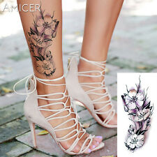 Flor de color púrpura Peonía Pegatinas Tatuajes Temporales Body Art 3D Rosa Impermeable UK