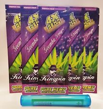 6 Packs KINGPIN Goomba Grape Perfect Fold Hemp Wraps 4 Per Pack & 1 Torpedo Tube