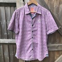 "Joe Browns Mens Short Sleeve Floral Cotton Shirt Size L Chest 46"" VGC Summer"