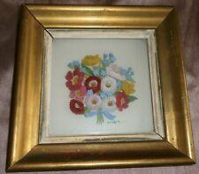 """Peinture sous verre """" Bouquet floral polychrome """" 4 plaques superposées - Volume"""