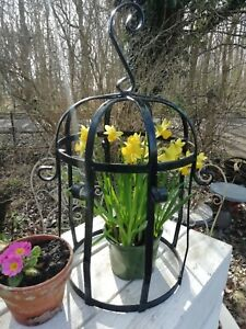 Large Vintage Wrought Iron Dome Cloche Hanging/Free Standing Garden Stand
