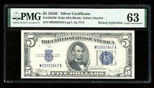 DBR $5 1934-C Silver Fr. 1653W MA Block Wide PMG 63 Serial M93895842A