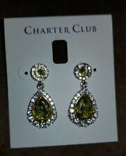 Crystal dangle Earrings Charter Club Silver-Tone citrine