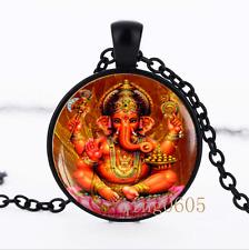 Ganesh Ganapati Vinayaka God Glass Dome black Chain Pendant Necklace wholesale