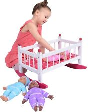 More details for wooden rocking cradle with mattress & bedding fits upto 18 inch/46 cm dolls