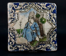 Antik islámicos Qajar estrella relief cerámica loseta mosaico Islamic tile-a