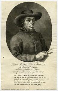 Rare Antique Master Print-FRERE JACQUES DE BEAULIEU-LITHOTOMIST-Berghe-ca. 1699
