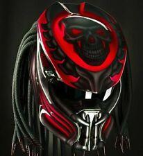Custom Predator Helmet King Skull Red For Motorcycle  (APPROVED DOT/ECE)