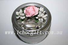 10 x Small Round Clear Window Silver Tin Bomboniere Boxes 7.5cm diametre