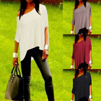 Fashion Womens Sexy Off Shoulder Shirt Short Sleeve Loose Tops Blouse Plus Size