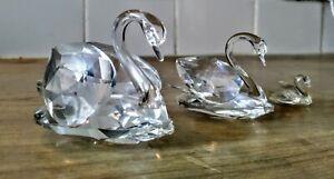 Swarovski Crystal Swan Trio - Small, Medium and Large