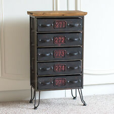 58cm Vintage Industrial Chest of 5 Drawers Storage Unit Office Cabinet Organiser