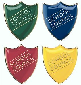 School Council Shield Enamel Badges - Free Delivery