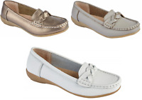 Ladies Leather Loafer Plaited Deck Driving Comfortable Flats Summer UK Sizes 3-8