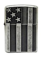 Zippo USA Armor Deep Cut Flag Antique Silver Plate Windproof Lighter - NEW