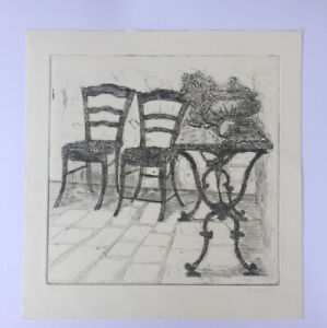 """RICHARD BEER 1928-2017 Limited Edition ETCHING """"study of two chairs"""""""
