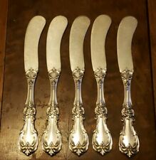 Set of 5 REED & BARTON Sterling Silver BURGUNDY Flat Butter Spreaders No Mono