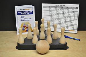SHUFFLEBOARD TABLE BOWLING BROWN PINS + REGULATION PINSETTER + BALL + RULES BOOK