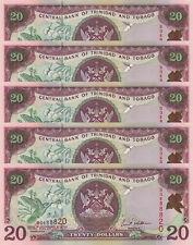 LOT, Trinidad and Tobago 20 Dollars (2002) p44 x 5 PCS sign Williams UNC