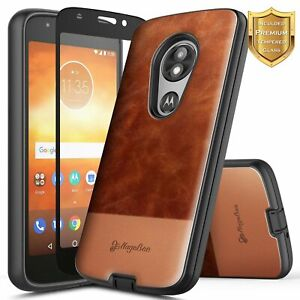 For Motorola Moto e5 PLAY/CRUISE/GO Case Leather Phone Cover + Tempered Glass