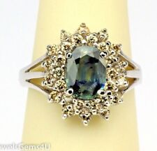 Oval Natural Green Sapphire Champagne Diamond Halo 14K White Gold Ring by CEI