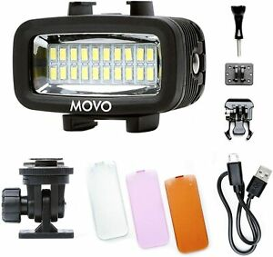 Movo LED-WP Underwater High-Power Rechargeable LED Video Light for Scuba, Gopro