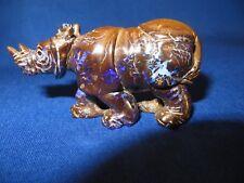 Beautiful Australian Koroit  Boulder Opal Rhinoceros Animal Carving 280 carats