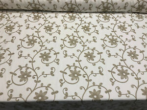 25 Yard Roll Everett Natural Floral Embroidered Fabric