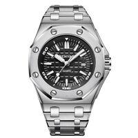43mm BENYAR black dial date Stainless Steel Bracelet sport Quartz mens watch