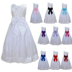 Flower Girl White Party Dress Bridesmaid Dress 2 to 7 Years Sash in 10 Colours