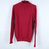 FRED PERRY Vintage Mens Red Zip Neck Henley Jumper SIZE Large, L