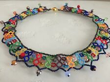 """Czech Glass Beaded Crochet Lace Collar NECKLACE 22"""" Multi-Color Brights"""