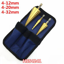 3PCS 4-12/20/32mm HSS 4241 Titanium Nitride Cutter Coated Step Shank T Drill Bit