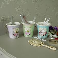 Set 3 vintage rose bird pots shabby French vintage chic ornate storage gift girl
