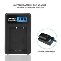 USB Portable Battery Charger for NP-W126 Single Slot with LCD Screen for Fuji