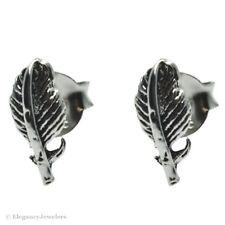 .925 Sterling Silver Feather Stud Earrings