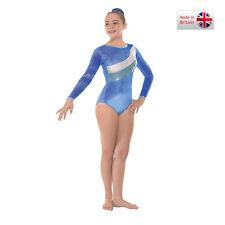 Royal long sleve velvet and foil gymnastics/dance leotard (31)-size 3a Age 11-13