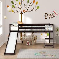 Kids Loft Bed Twin Size w/Slide Childs Bed Wood Frame Bedroom Furniture White