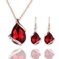 Women Crystal Pendant Necklace Earring  Rhinestone Jewelry Dress Accessories