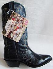 NEW NOCONA Navy Blue LIZARD 7 EE Made In USA Cowboy Boot OLD STOCK European 39.5