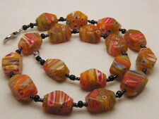 VINTAGE MILLEFIORI VENETIAN NECKLACE BEAD ART GLASS FLOWER BEAD  FACETED MURANO