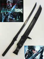 Metal Gear Solid Full Tang Ninja Sword w/ Black Leather Sheath & Single Stand